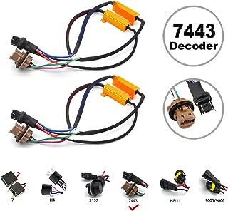 HOCOLO 7443 7440 7441 Turn Signal Light or Backup Light LED Resistor Kit Relay Harness Adapter Anti Flicker Error Decoder Warning Canceller (2pcs 7443-Resistor Decoder)