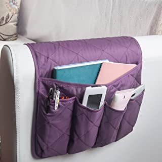 MDSTOP 5 Pockets Remote Control Holder, Magazine Rack, Space Saver Organizer, Draped Over Sofa, Couch, Recliner Armrest(Purple)