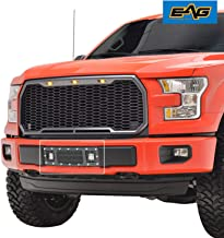 EAG Rivet Black Stainless Steel Wire Mesh Bumper Grille With LED Lights Fit for 2015-2017 Ford F150