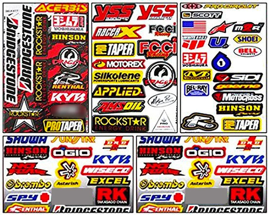 Set of 5 Motocross Dirt Bike Helmet Decal Kit Sticker Sheets #Su-501