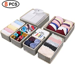 DIMJ 8 Pack Foldable Storage Boxes Closet Storage Bins Dresser Drawer Organizer with Drawers for Underwear Bras Socks Ties Scarves Panties Lingeries Nursery Baby Clothes