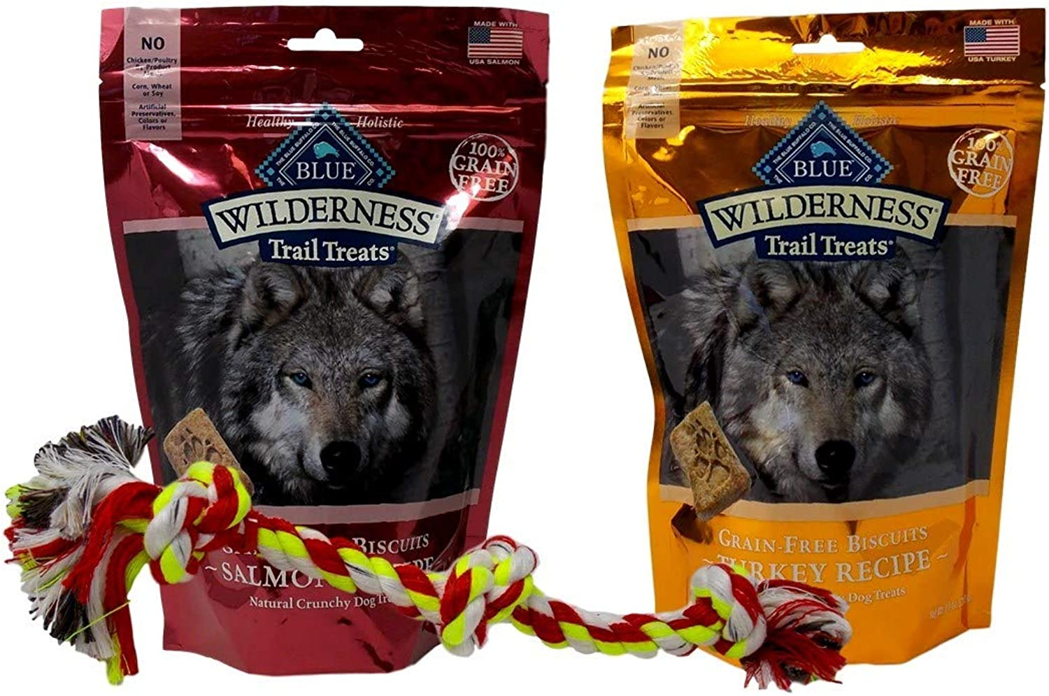 bluee Buffalo Wilderness Trail Treats GrainFree Dog Biscuits 2 Flavor with Toy Bundle  (1) Turkey, and (1) Salmon, 10 Ounces
