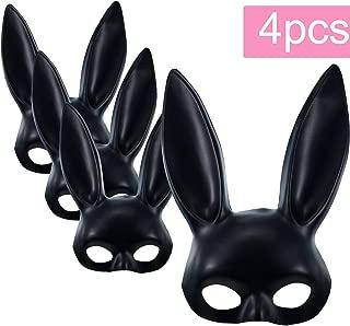 4 Pieces Bunny Face Mask Rabbit Ear Mask for Birthday Christmas Easter Halloween Black