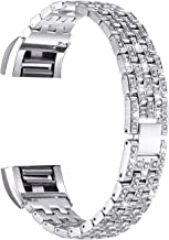 (14cm - 19cm , Silver with Rhinestone) - For fits fitbit Charge 2 Bands, bayite Replacement Mesh Metal Bands Bracelet for fits fitbit Charge 2 Silver Rose Gold, Style C