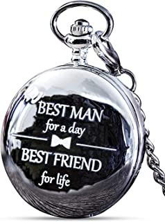 Best Man Gift for Wedding or Best Man Proposal - Engraved 'Best Man for a Day' Pocket Watch - Pair with Groomsmen Gifts