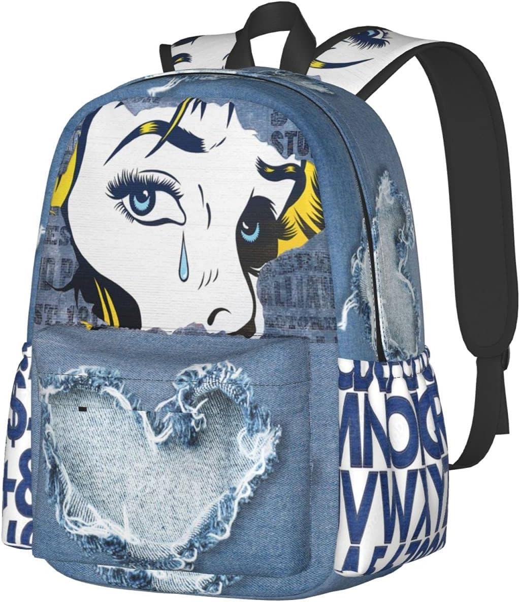 NEW Ranking TOP3 before selling Vintage Jean Denim Graffiti Print Backpack Backpa Bookbag Laptop
