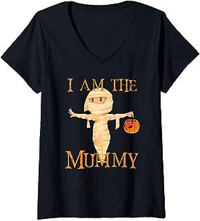 Womens I Am The Mummy Halloween Mom V-Neck T-Shirt
