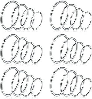 16G 18G 20G 24pcs Fake Nose Rings Hoop Stainless Steel Faux Nose Septum Rings Piercing Jewelry 6-12mm Inner Helix Tragus Cartilage Earrings Hoop Piercing …