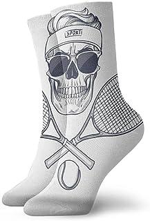 Novedad Divertido Crazy Crew Calcetín Calavera con raquetas de tenis Calcetines deportivos deportivos impresos Calcetines de regalo personalizados de 30 cm de largo