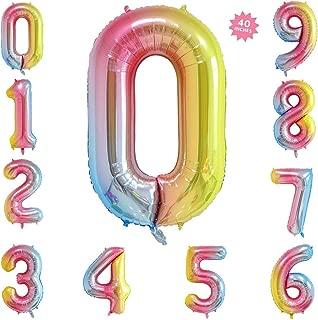 40 Inch Rainbow Jumbo Digital Number Balloons 0 Huge Giant Balloons Foil Mylar Number Balloons for Birthday Party,Wedding, Bridal Shower Engagement Photo Shoot, Anniversary