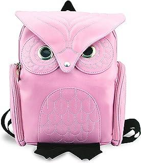 YUHUAWYH Damen PU Leder Rucksack Mädchen Freizeit Cartoon Eule Daypack Tasche Pink