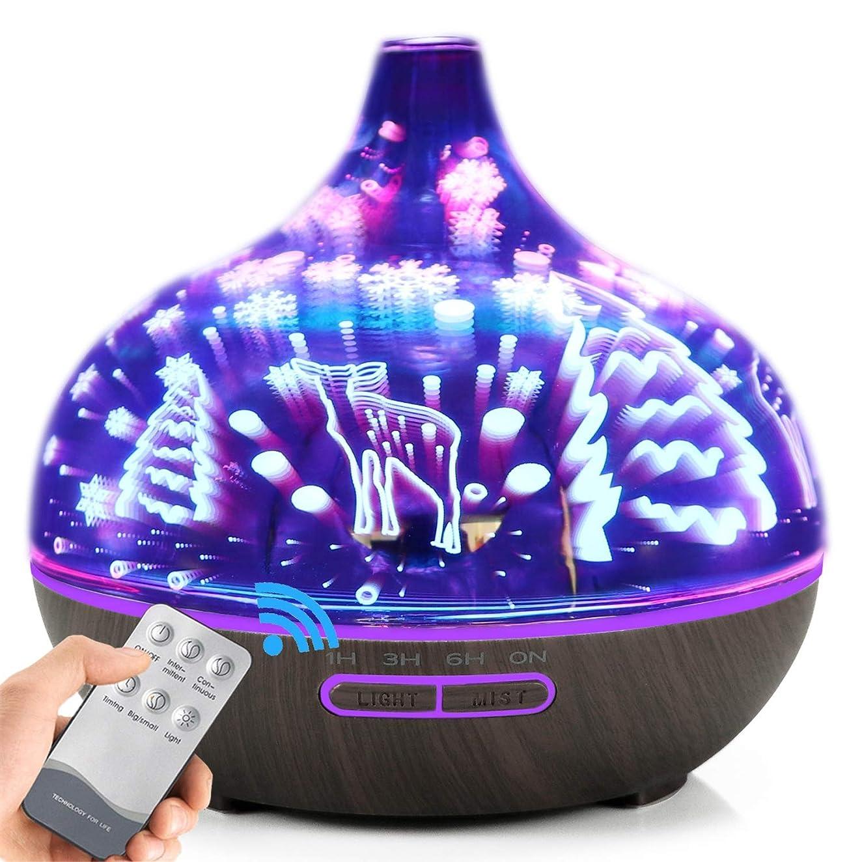 引き出すサイレント勤勉AXNYLHY Essential Oil Diffuser,400ml Aroma Diffuser 3D Colorful LED Night Light Glass humidifiers for Bedroom,Darkwoodgrain 141[並行輸入]