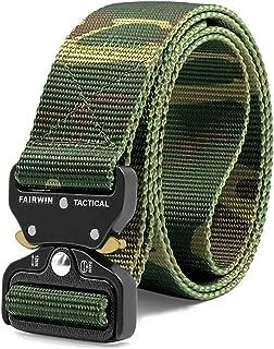 Fairwin Tactical Belt, Military Style Webbing Riggers Web Belt Heavy-Duty Quick-Release Metal Buckle