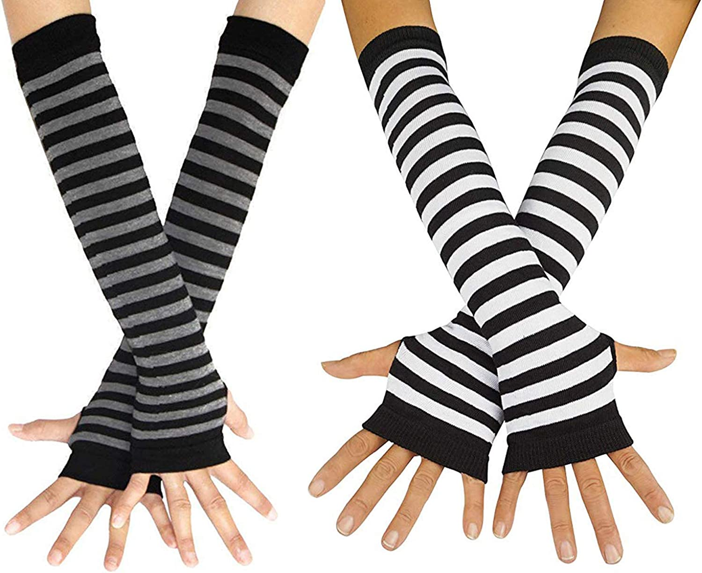 Striped Long Arm Warmer Fingerless Gloves, Knee High Socks Set, Punk Gothic Rock