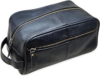 Men's Genuine Leather Toiletry Bag Waterproof Dopp Kit Shaving Bags and Grooming for Travel Groomsmen Gift Men Women Hangi...