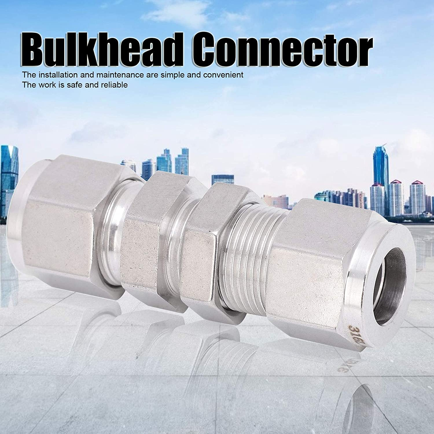 for Water Pipes Gas Pipes Convenient Practical Double Ferrule Bulkhead Connector Ф1//2 Safe Reliable Durable Bulkhead Connector