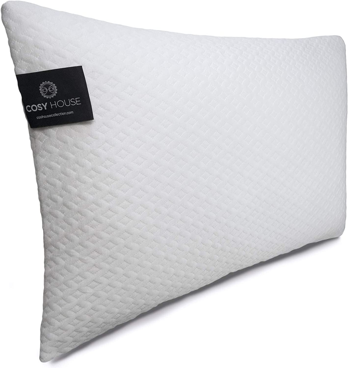 Cosy House Collection Luxury Bamboo Shredded Memory Foam Pillow - Adjustable Fit - Zipper Closure - Removable Fill - Ultra Soft, Cool & Breathable Hypoallergenic Pillow Cover (Queen)