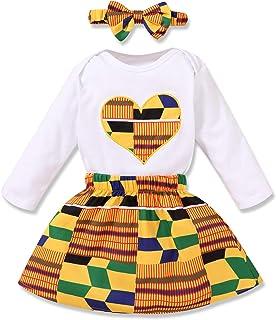 Infant Toddler Baby Girls African Kente Skirt Set Heart Print Shirt Top + Kente Girls Dress + Bow Headband Outfit Set 3Pcs
