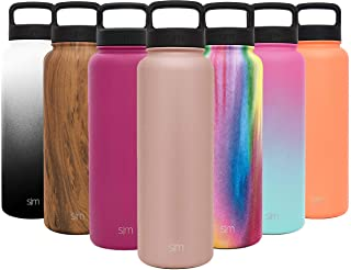 Simple Modern 40oz, 64oz, 84oz Summit Water Bottle + Extra Lid - Wide Mouth Vacuum Insulated 18/8 Stainless Steel Powder Coated
