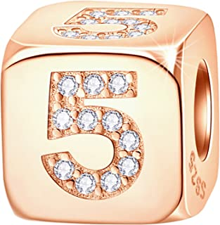 Rose Gold Dice Lucky 0-9 Number and Poker Card Charms with CZ, 925 Sterling Silver Cube Shape Beads fits European Bracele...