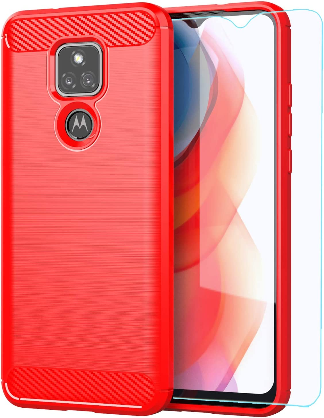 Moto G Play 2021 case,Motorola G Play 2021 case,with HD Screen Protector,M MAIKEZI Soft TPU Slim Fashion Non-Slip Protective Phone Case Cover for Motorola Moto G Play 2021 (Red Brushed TPU)