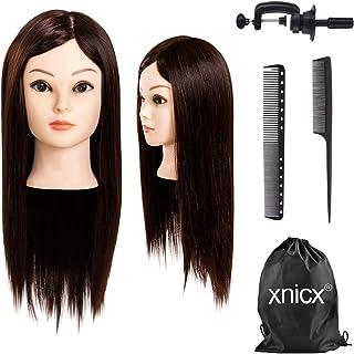 xnicx 75% Pelo real cabeza maniqui peluqueria cabeza de maniqui cabeza maniqui peluqueria cabezas para peinar peluqueria