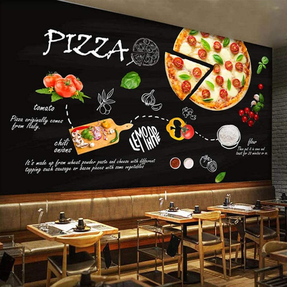 Custom Wallpaper Black Hand-Painted Pizza B Fast Fashion Restaurant Food At the price of surprise