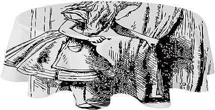 YOLIYANA Alice in Wonderland Suitable Tablecloth,Black and White Alice Looking Through Curtains Hidden Door Adventure Decorative for Indoor,20