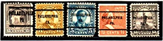 USA Postage Stamp Precancel Issue Philadelphia, PA. Set Of 5 Stamps Set #279