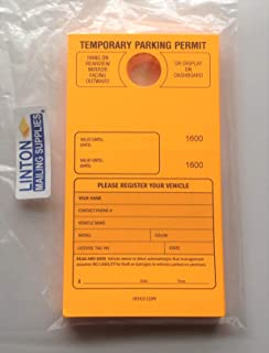 Temporary Parking Permit - Mirror Hang Tags, Consecutive Numbers with Tear-Off Stub, 7-3/4