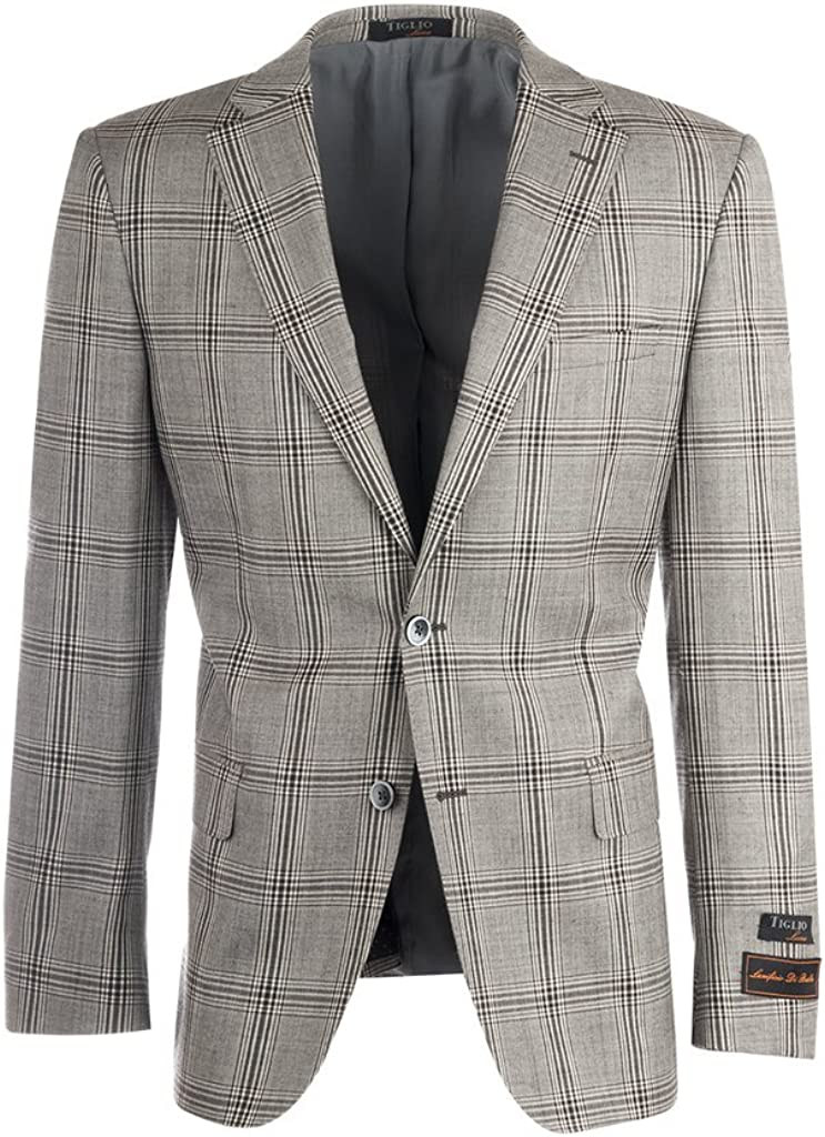 Tiglio Luxe Dolcetto Heather Gray with Slate Gray and White Windowpane Modern Fit, Pure Wool Jacket T64.523/2