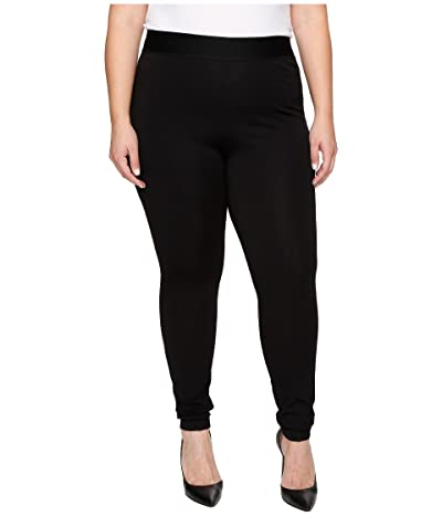 HUE Plus Size High Waist Blackout Ponte Leggings (Black) Women