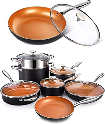 MICHELANGELO Copper Pots and Pans Set Nonstick 12 Piece + 11 Inch Frying Pan with Lid, Nonstick Copper Cookware Set with Ceramic Titanium Coating, Ceramic Cookware Set, OVEN Safe