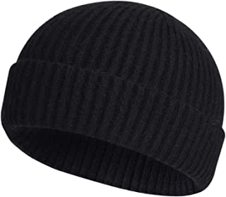 ROYBENS Swag Wool Knit Cuff Short Fisherman Beanie for Men Women, Winter Warm Hats
