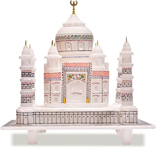 Artist Haat Handcrafted Indian Souvenir Taj Mahal Replica - Symbol of Love (White with Colourful Painting, 6