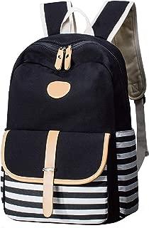 GLJ Navy Striped Backpack Canvas Bag Student Backpack Backpack (Color : Black)