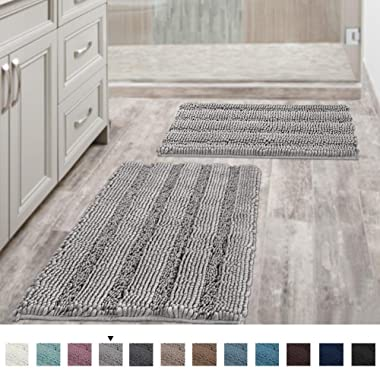 Non Slip Thick Shaggy Chenille Bathroom Rugs Soft Bath Mats for Bathroom Extra Absorbent Floor Mats Bath Rugs Set for Kitchen/Living Room (Set of 2, 20  x 32 /17  x 24 , Dove)