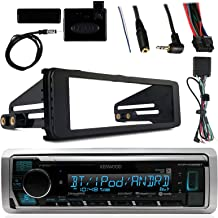 Kenwood Marine Radio Stereo Bluetooth Receiver Bundle, 1998 2013 Harley Davidson Motorcycle Touring Flht Flhx Flhtc, Adapter Install Dash Kit, Handle Bar Control, Enrock Wire Antenna