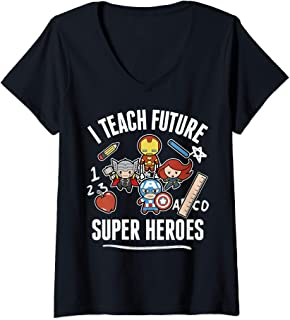 Womens Marvel Avengers I Teach Future Super Heroes Collage V-Neck T-Shirt
