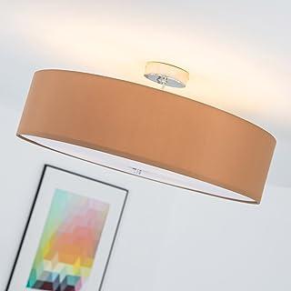 Lightbox LB00000139 – Lámpara de techo moderna con pantalla textil (3 focos, Ø 60 cm, 3x E27 máx. 60W, realizado en metal y textil) Color cromo marrón claro
