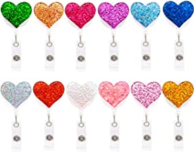 Qinsuee 12 Pack Bling Heart Retractable Badge Reel, ID Badge Holder with Alligator Clip, Lightweight, 24