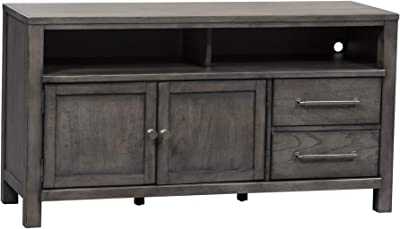 """Liberty Furniture INDUSTRIES Modern Farmhouse Entertainment Console, 56"""", Dusty Charcoal"""