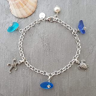 "product image for Handmade""Three Colors of the Hawaiian Ocean"" sea glass bracelet, starfish charm, turtle charm, freshwater pearl, (Hawaii Gift Wrapped, Customizable Gift Message)"