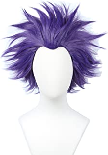 Linfairy Anime Cosplay Wig Short Halloween Costume Hero Wig (Purple)