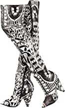 Weboo Hollywood-01 ONE of A Kind Womens Sexy Super Stylish Over Knee Thigh High Open Toe V Shape Cone Heel Graphic Print Booties Black & White Multicolor Boots Run Small GO UP Full Size