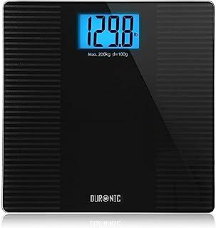 Duronic BS203 Báscula de baño digital - Capacidad máxima de 180kg – Pantalla LCD azul fácil de leer- Diseño antidescilante negro - Enciende al subirse - Peso corporal en kg, lb y st