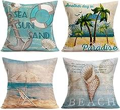 Asamour Summer Tropical Beach Cotton Linen Throw Pillow Case Nautical Anchor Seashell & Sea Snail Decorative Cushion Cover Square Pillow Sham 18''x18'' Set of 4,Beach Chair,Coconut Palm