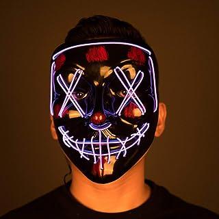 قناع الهالوين KUNWAYF أقنعة مضيئة LED تضيء في الظلام لاحتفالات الأزياء التنكرية الرائعة للحفلات باللون الأرجواني