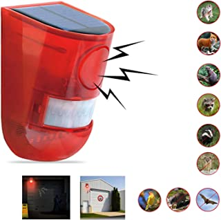Comboss Solar Outdoor Animal Repeller, Solar Strobe Light with Motion Detector Solar Alarm Light 110 db Sound Security Siren, expelling Raccoons, Rabbits, Squirrels, etc, Protected Home, Farm, Barn
