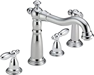 Delta Faucet Victorian 2-Handle Widespread Kitchen Sink Faucet with Side Sprayer in Matching Finish, Chrome 2256-DST